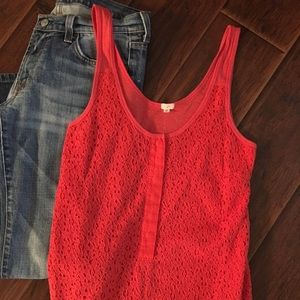 J Crew Boho Crochet Lace Tank XS